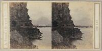 Suisse Lago Di Walenstadt Foto Braun Stereo PL55L1n Vintage Albumina c1865