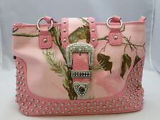 New Womens Mossy Oak Purse Pink Realtree Camo Tote Handbag With Buckle Accent