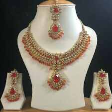 RED GOLD INDIAN KUNDAN COSTUME JEWELLERY NECKLACE EARRINGS CRYSTAL SET NEW 346