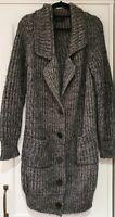 Womens Joseph Grey Chunky Fisherman Knit Wool Mohair Long Cardigan With PocketsS