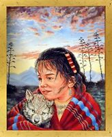 Native American Indian Girl and Wolf Wall Decor Golden Framed Picture (18x22)