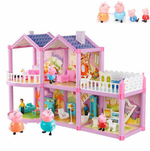 Lovely House Set+ 6 Peppa Pig Figures Children Plastic Character Kids Gift Toy