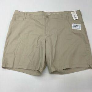 NWT Riders by Lee Midrise Shorts Women's Plus Size 26W Khaki Soft Flex Waistband