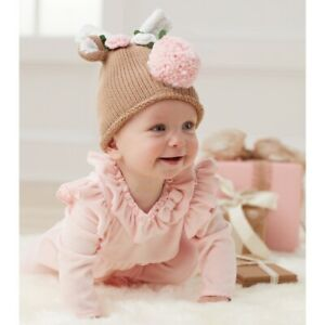 Mud Pie H0 Classic Christmas Baby Girl Reindeer Knit Hat 16010085 Choose Size