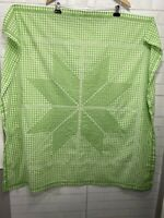 """FARMHOUSE Green White Check Handmade Tablecloth Embroidered Cottage Square 42"""""""