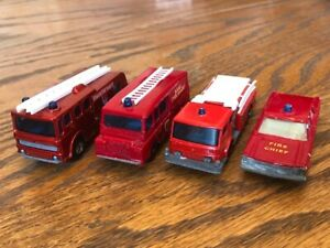 Matchbox Lesney Vintage Fire Truck and Car 4 vehicle lot Land Rover Merryweather