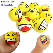 12× Hand Stress Relief Squeeze Smile Face Foam Ball Kids Bouncy Fidget Toy CG