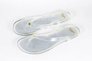 New women Kate Spade Glitter Jelly clear Sparkle Sandal Slide on Flip 5,6,7,8