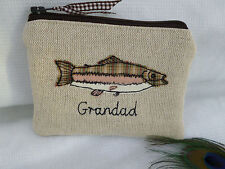Handmade Personalised Wallet 'Trout Pouch' Fish Choice of Name Grandad Dad Gift