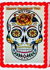 Mexican Sugar Skull Icing Edible Cake Topper Image  Day of the Dead Decoration