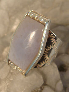JAY KING MOONSTONE RING STERLING DRT CHINA SIZE 5 1/2 ETCHED REALLY A SWEET RING