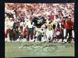 """Raghib """"The Rocket"""" Ismail of Notre Dame hand signed vs Miami 11x14 full sig."""
