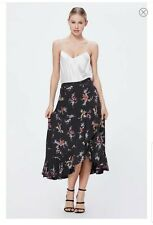 Paige Women's Alamar Midi Wrap Skirt  Black Floral Small NWT RV: $189