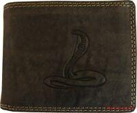 Hochwertige Geldbörse Geldbeutel Portemonnaie Büffel Leder Cobra Schlange Wild