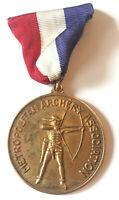1955 Metropolitan Archery Association Mens Team Medallion Medal w/ Ribon Pinback