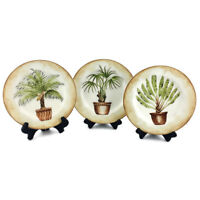 3 AMERICAN ATELIER Tropical Palm #5185 Porcelain Brown Pot Salad Dessert Plates
