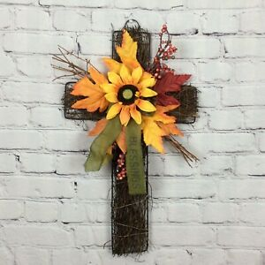 Fall Harvest Hanging Cross Door/Wall Decor Sunflowers Leaves Berries Autumn Bow