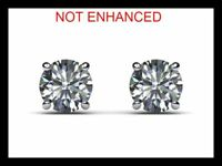 3/4 ctw D/VS2 Real 100% Natural Round Cut Diamond Stud Earrings 14k White Gold