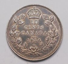 1916 Ten Cents EF HIGH Grade BEAUTY Better Date King George V Canada SILVER Dime