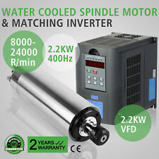 2.2KW CNC SPINDLE MOTOR ER20 + 2.2KW 220V VFD INVERTER DRIVE WATER COOLED