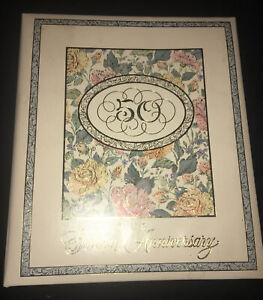 Vintage Hallmark 50th Wedding Anniversary Album (10 x 11 Pages) Roses Golden