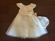 "NEW ""CHAMPAGNE GOLD ROSE"" Dress Girls Baby 9m Christmas Boutique Clothes Holiday"
