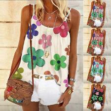 Women's Summer Loose Casual Vest Tank Tops Sleeveless Boho Floral T-Shirt Blouse