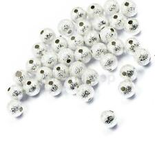 50stk. Großlochperlen Metallperlen Spacer beads Schmuck 6mm Silber