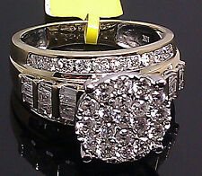 Real 10k Yellow Gold Genuine 2.00CT Round & Baguette Diamond Ring Band Ladies  N