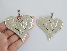 5 Large Tibetan Silver Tone Hammered Heart Charms Pendants Jewellery Findings