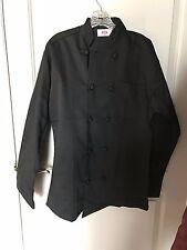 350 Chef Apparel Black 10 Knot Button Chef Coat Easy-Care Twill Size Small New
