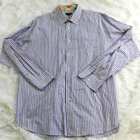 Lilly Pulitzer Purple White Stripe Button Down Dress Shirt Size XXL Palm Beach