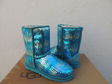 UGG CLASSIC MARINE BLUE WAVE SPARKLES/ SEQUIN BOOTS, WOMENS US 7/ EUR 38 ~ NEW