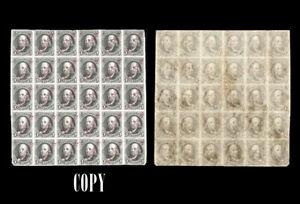 USA 1847 Benjamin Franklin 5c Black, Block of 25 ,Red Specimen Overprint, COPY