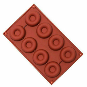 Silicone Donut Baking Moulds Pan Non-stick Mould for 8 Full Doughnuts Bagel Tray