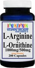 L-Arginine and L-Ornithine 1000mg/500mg serving 200 Caps New Freshly made