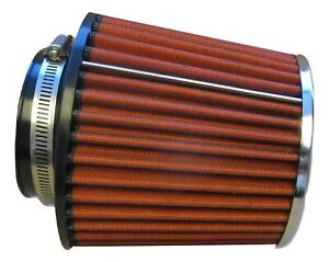 """Performance High Flow Cone Air Filter (100mm) 4"""" Inch Neck Diameter RED/CHROME"""