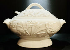 Classic White Ceramic Covered Soup Tureen & Ladle; Raised Floral Pattern