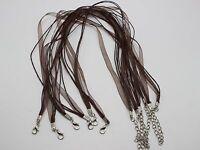 "20 Brown Organza Ribbon Waxen Cord Necklace 17"" Lobster Clasp Fit DIY Pendant"