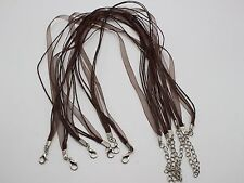 "20 Brown Organza Ribbon Waxen Cord Necklace 17"" Lobster Clasp Fit DIY Pendant"