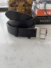 Auth  Hermes Etriviere Black Belt Palladium HW Unisex Belt 32mm 105cm