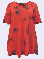 NEW Eaonplus RED TIE DYE TunicTop with Embroidered Trim & Curved Hem UK 18 & 20