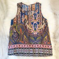Francescas Boho Patterned Sleeveless Top Blouse Women's Size Small EUC