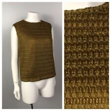 Vintage Nos 1960s Olive Woven Crochet Sleeveless Cropped Top Blouse Unworn S