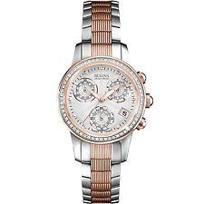Bulova Accu Swiss Women's 65R153 Diamond Accents Chronograph Two-Tone 31mm Watch