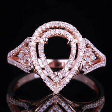 Round Pave Diamond Engagement Semi Mount Ring Setting Solid 10k Rose Gold