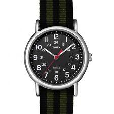 Timex Orologio Indiglo Cinturino Tessuto Colorato Luce Nero Verde ABT647 Black