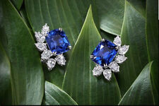 2.11 Ct Cushion Cut Blue Sapphire Stud Earrings In Solid 925 Sterling Silver