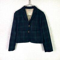 Anthropologie Cartonnier Kentfield Wool Plaid Blazer Button Front Pockets Size 2