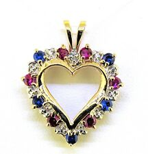10 k Gold 2.8 g Ruby And Spinel Heart Pendant Solid